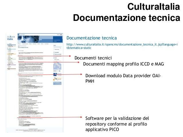 CulturaItalia CulturaItalia Aderire a CulturaItalia: Banche dati Documentazione tecnica  Documentazione tecnica http://www...