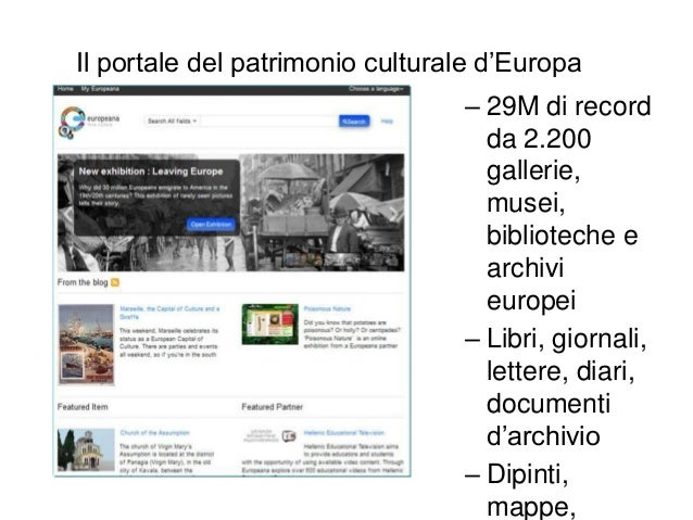 Il portale del patrimonio culturale d'Europa – 29M di record da 2.200 gallerie, musei, biblioteche e archivi europei – Lib...