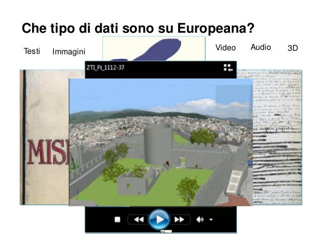 Che tipo di dati sono su Europeana? Testi  Immagini  Video  Audio  3D