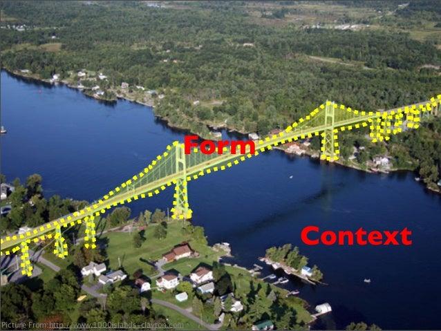 • Context: 兩座陸地之間,彼此沒有相連,中間以海洋相隔。 • Problem:如何設計⼀一個建築物讓⼈人通⾏行? • Form: ⼀一座橋