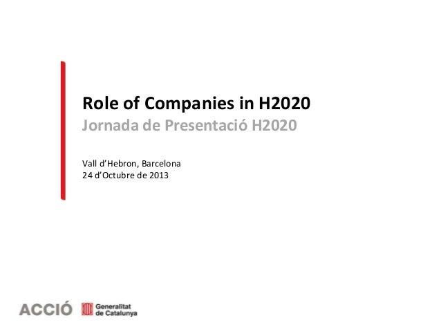Role of Companies in H2020 Jornada de Presentació H2020 Vall d'Hebron, Barcelona 24 d'Octubre de 2013