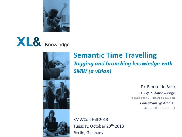 Semantic Time Travelling Tagging and branching knowledge with SMW (a vision) Dr. Remco de Boer CTO @ XL&Knowledge rdeboer@...
