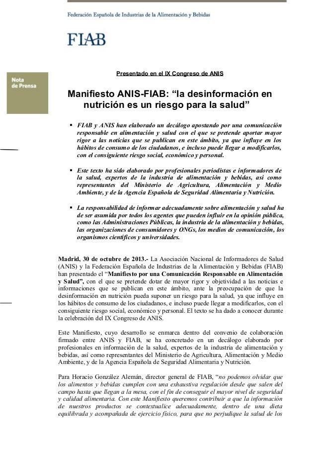 """Presentado en el IX Congreso de ANIS  Manifiesto ANIS-FIAB: """"la desinformación en nutrición es un riesgo para la salud""""  ..."""