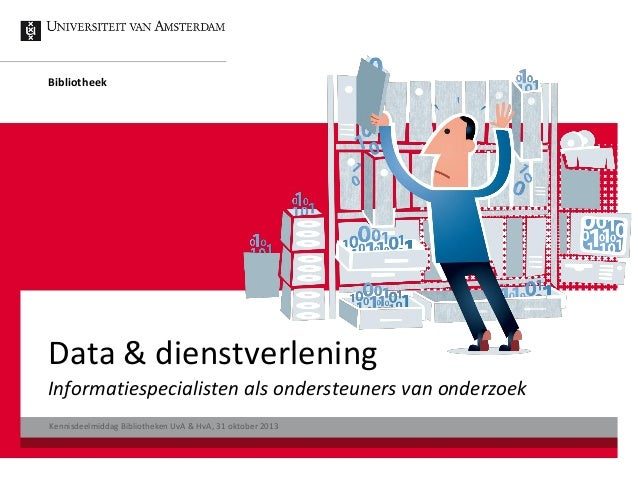 Bibliotheek  Data & dienstverlening Informatiespecialisten als ondersteuners van onderzoek Kennisdeelmiddag Bibliotheken U...