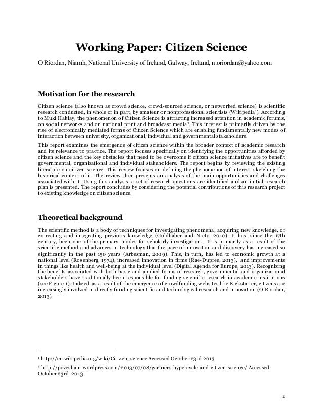 Working Paper: Citizen Science O Riordan, Niamh, National University of Ireland, Galway, Ireland, n.oriordan@yahoo.com  Mo...