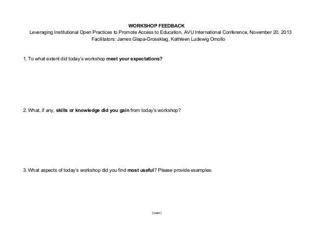 Workshop Feedback Form Workshop Evaluation Form Doc Workshop