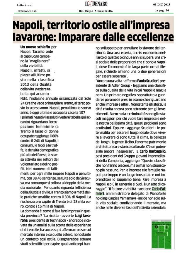 03-DIC-2013  Lettori: n.d. Diffusione: n.d.  Dir. Resp.: Alfonso Ruffo  da pag. 16
