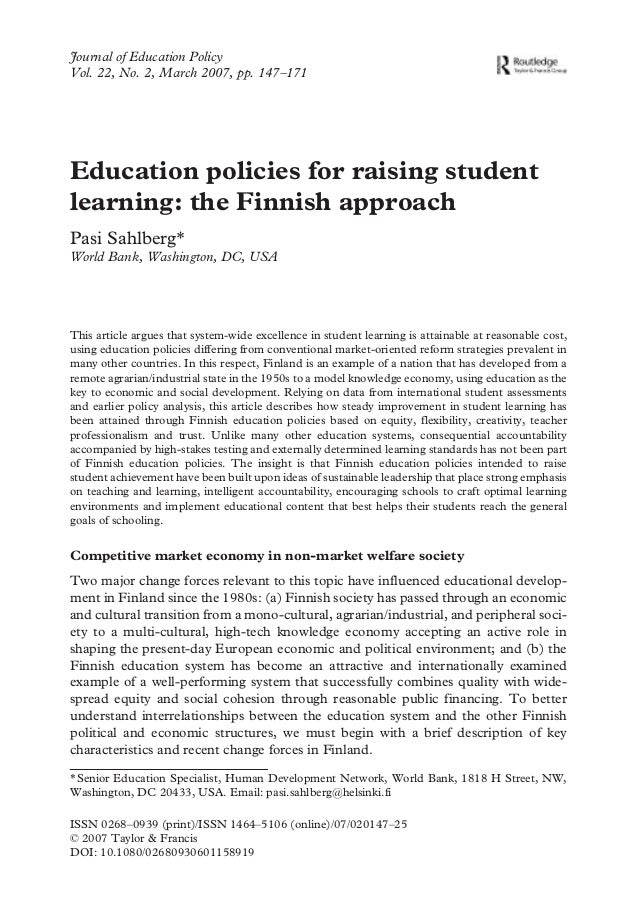 Journal of Education Policy Vol. 22, No. 2, March 2007, pp. 147–171 ISSN 0268–0939 (print)/ISSN 1464–5106 (online)/07/0201...