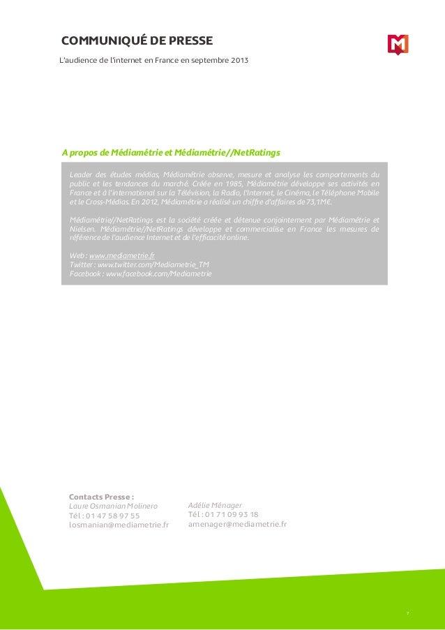 COMMUNIQUÉ DE PRESSE L'audience de l'internet en France en septembre 2013  A propos de Médiamétrie et Médiamétrie//NetRati...