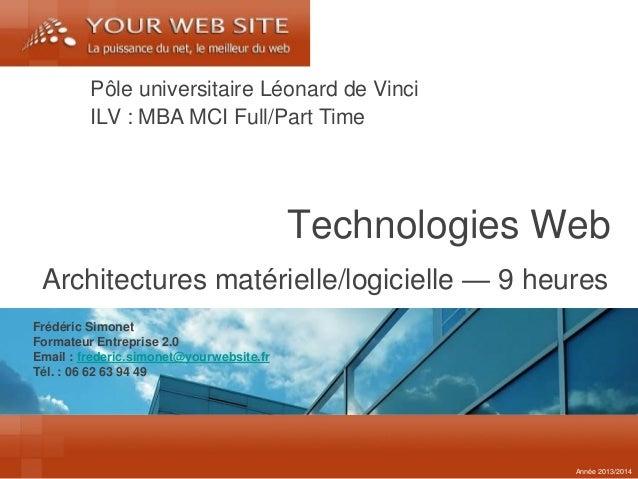Frédéric Simonet  Formateur Entreprise 2.0  Email : frederic.simonet@yourwebsite.fr  Tél. : 06 62 63 94 49  Technologies W...