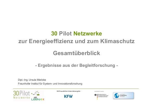 30 Pilot Netzwerke zur Energieeffizienz und zum Klimaschutz Gesamtüberblick - Ergebnisse aus der Begleitforschung Dipl.-In...