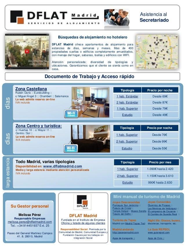 Asistencia al Secretariado  Búsquedas de alojamiento no hotelero DFLAT Madrid ofrece apartamentos de alojamiento para esta...