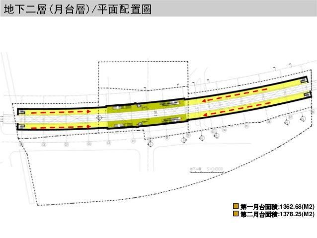 地下二層(月台層)/平面配置圖  第一月台面積:1362.68(M2) 第二月台面積:1378.25(M2)
