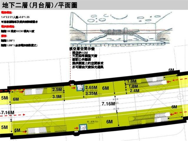 地下二層(月台層)/平面圖 電梯規格: 1.4*2.2 21人座>0.9*1.35 可容納腳踏車及提供無障礙需求 電扶梯規格: 踏階1M 深度40CM 頃角30度 樓梯: 踏階2.5M*1 踏階1.8M*1(合併電扶梯設置之)  挑空層空間示意...