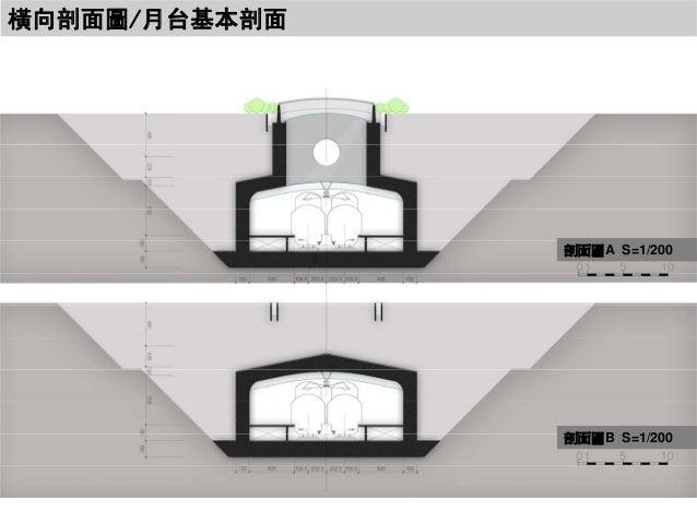 橫向剖面圖/月台基本剖面  剖面圖A S=1/200  剖面圖B S=1/200
