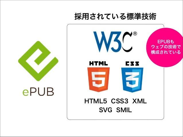 採用されている標準技術  EPUBも ウェブの技術で 構成されている  HTML5 CSS3 XML SVG SMIL