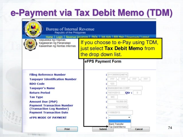 Electronic Filing and Payment System Coaching Session For Entrepreneu – Debit Memo Sample