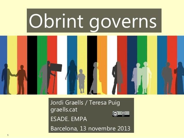 Obrint governs  Jordi Graells / Teresa Puig graells.cat ESADE. EMPA Barcelona, 13 novembre 2013 1