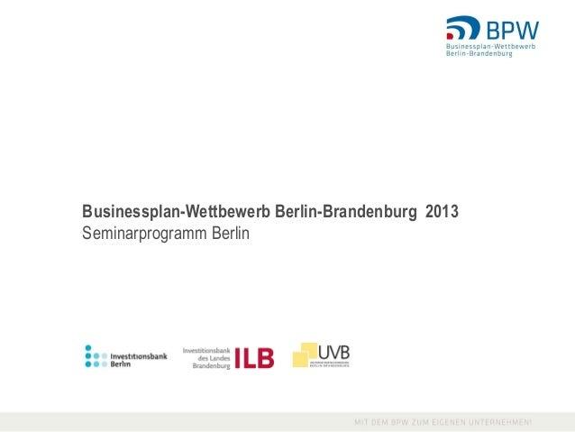 Businessplan-Wettbewerb Berlin-Brandenburg 2013Seminarprogramm Berlin