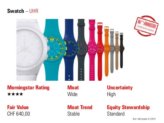Swatch – UHR Morningstar Rating QQQQ Fair Value CHF 640,00 Moat Wide Moat Trend Stable Bron: Morningstar 5/1/2015 Uncertai...