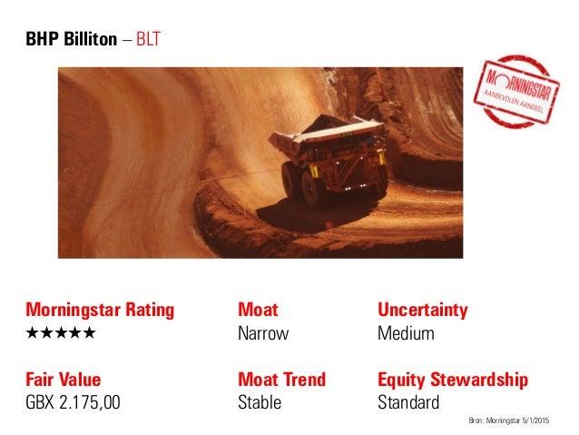 BHP Billiton – BLT Morningstar Rating QQQQQ Fair Value GBX 2.175,00 Moat Narrow Moat Trend Stable Bron: Morningstar 5/1/20...