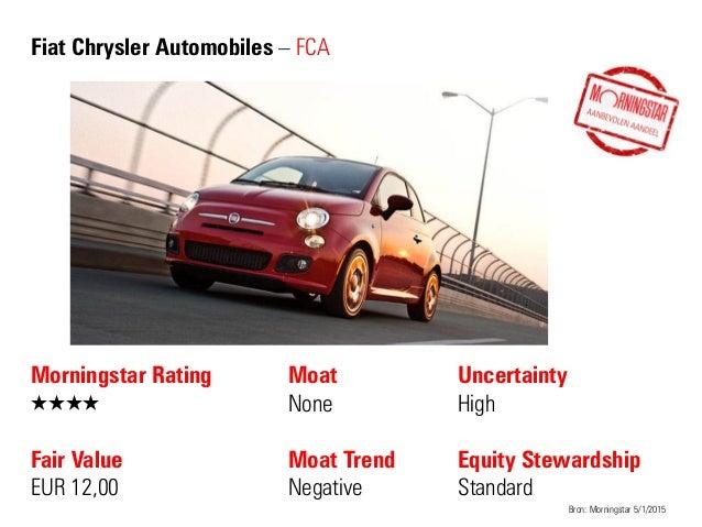 Fiat Chrysler Automobiles – FCA Morningstar Rating QQQQ Fair Value EUR 12,00 Moat None Moat Trend Negative Bron: Morningst...