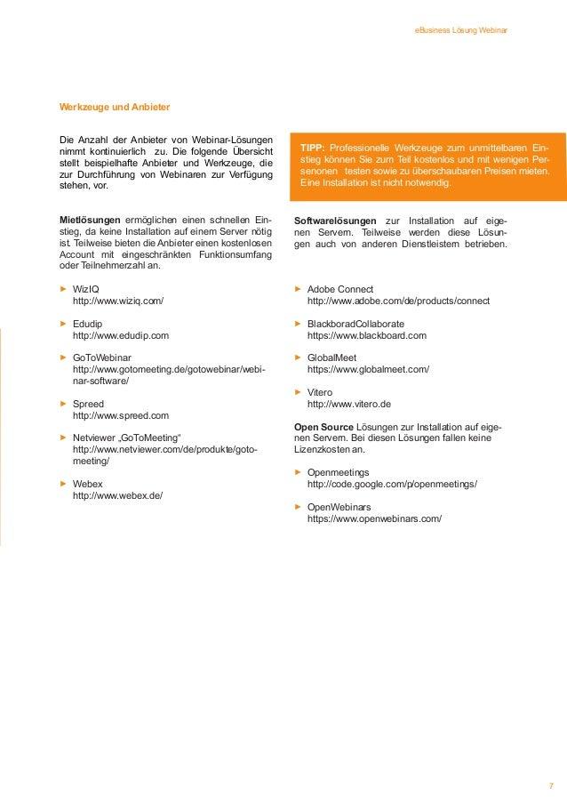 eBusiness Lösung Webinar  Werkzeuge und Anbieter Die Anzahl der Anbieter von Webinar-Lösungen nimmt kontinuierlich zu. Die...