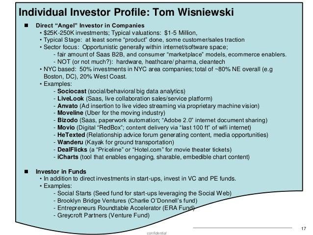 "Individual Investor Profile: Tom Wisniewski   Direct ""Angel"" Investor in Companies • $25K-250K investments; Typical valua..."