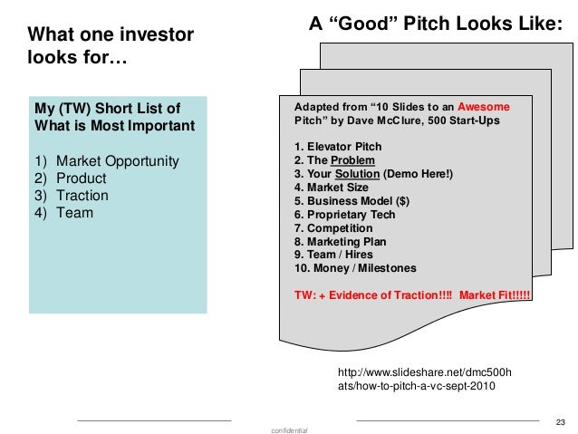 """A """"Good"""" Pitch Looks Like:  What one investor looks for… My (TW) Short List of What is Most Important 1) 2) 3) 4)  Market ..."""