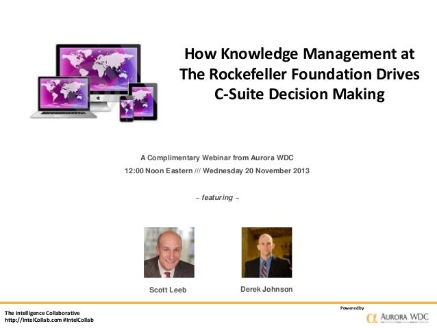 How Knowledge Management at The Rockefeller Foundation Drives C-Suite Decision Making  A Complimentary Webinar from Aurora...