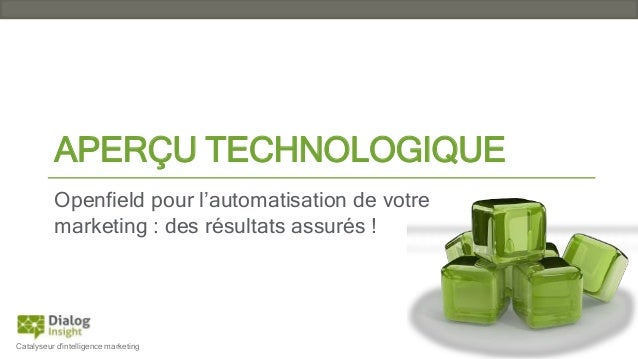 APERÇU TECHNOLOGIQUE Openfield pour l'automatisation de votre marketing : des résultats assurés !  Catalyseur d'intelligen...