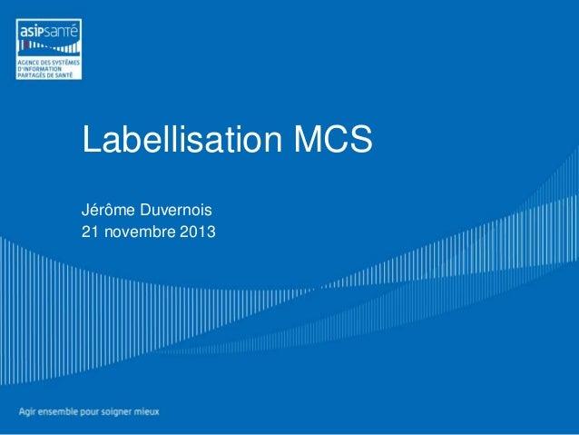 Labellisation MCS Jérôme Duvernois 21 novembre 2013