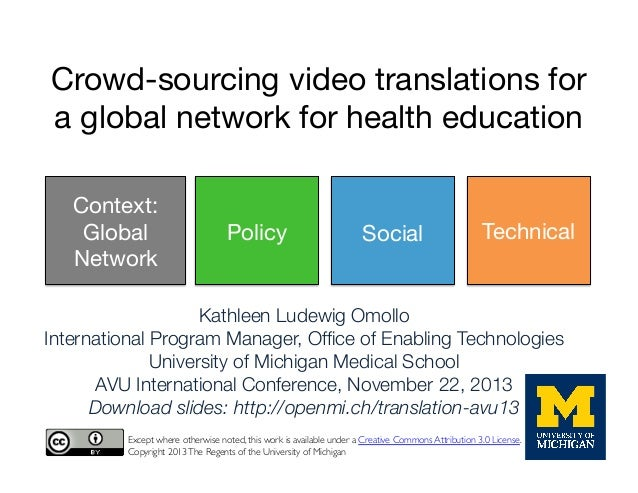Crowd-sourcing video translations for a global network for health education Context: Global Network  Policy  Social  Techn...