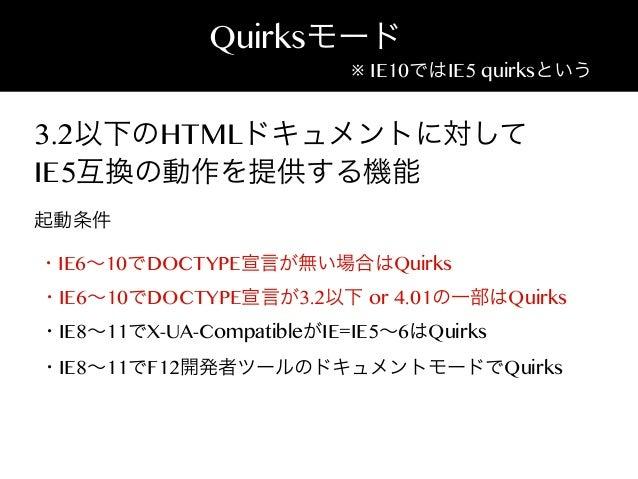 Quirksモード  ※ IE10ではIE5 quirksという  3.2以下のHTMLドキュメントに対して IE5互換の動作を提供する機能 起動条件 ・IE6∼10でDOCTYPE宣言が無い場合はQuirks ・IE6∼10でDOCTYPE宣...