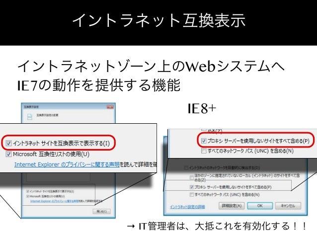 イントラネット互換表示 イントラネットゾーン上のWebシステムへ IE7の動作を提供する機能 IE8+  → IT管理者は、大抵これを有効化する!!