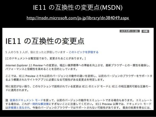 IE11 の互換性の変更点(MSDN) http://msdn.microsoft.com/ja-jp/library/dn384049.aspx