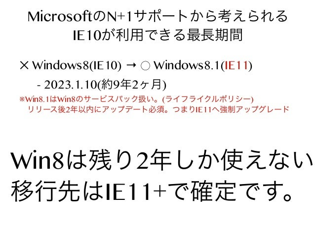 MicrosoftのN+1サポートから考えられる IE10が利用できる最長期間 ✕ Windows8(IE10) → ⃝ Windows8.1(IE11) - 2023.1.10(約9年2ヶ月)  ※Win8.1はWin8のサービスパック扱い。...