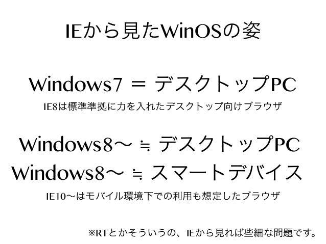 IEから見たWinOSの姿 Windows7 = デスクトップPC IE8は標準準拠に力を入れたデスクトップ向けブラウザ  Windows8∼ ≒ デスクトップPC Windows8∼ ≒ スマートデバイス IE10∼はモバイル環境下での利用も...