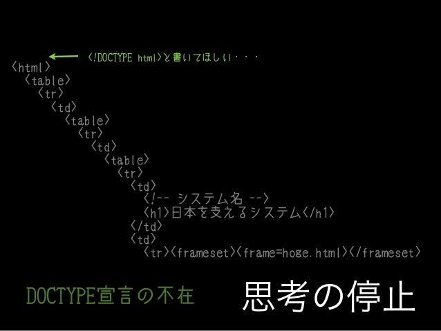 <!DOCTYPE html>と書いてほしい・・・  <html> <table> <tr> <td> <table> <tr> <td> <table> <tr> <td> <!-- システム名 --> <h1>日本を支えるシステム</h1>...