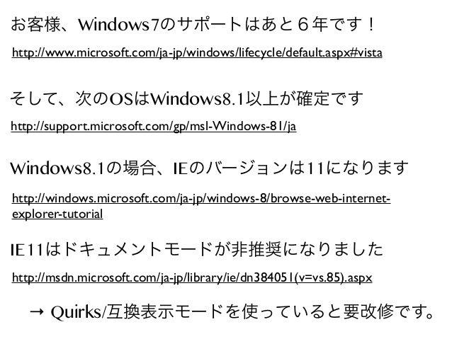 お客様、Windows7のサポートはあと6年です! http://www.microsoft.com/ja-jp/windows/lifecycle/default.aspx#vista  そして、次のOSはWindows8.1以上が確定です ...