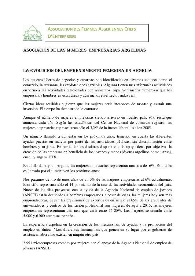 ASSOCIATION DES FEMMES ALGERIENNES CHEFS D ENTREPRISES Asociación de las mujeres empresarias argelinas  LA EVOLUCION DEL e...