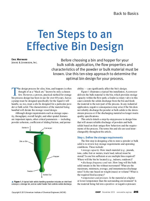 CEP November 2013 www.aiche.org/cep 25 Back to Basics T he design process for silos, bins, and hoppers is often thought...