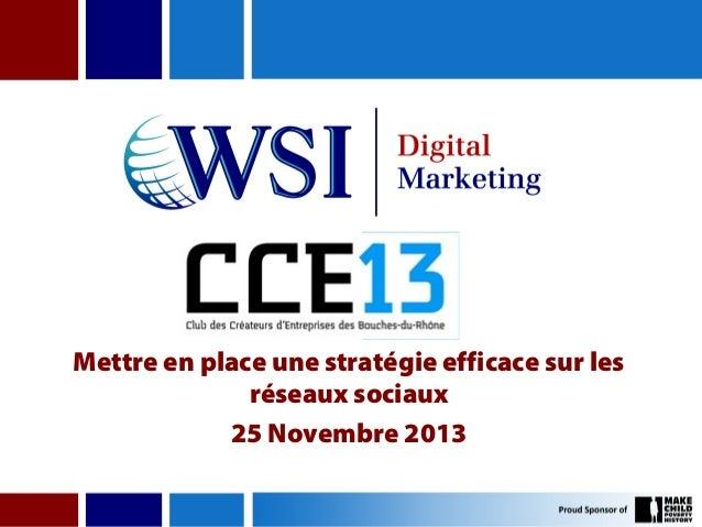 Mettre en place une stratégie efficace sur les réseaux sociaux 25 Novembre 2013
