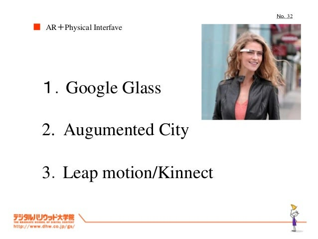 No.32  ■ AR+Physical Interfave  1.Google Glass 2. Augumented City 3.Leap motion/Kinnect