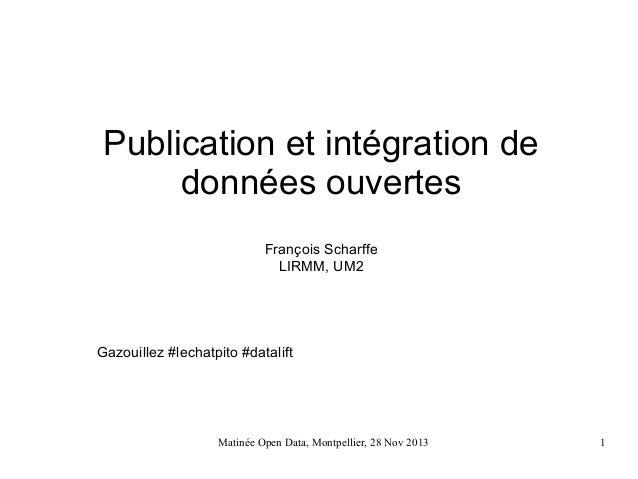 Publication et intégration de données ouvertes François Scharffe LIRMM, UM2  Gazouillez #lechatpito #datalift  Matinée Ope...