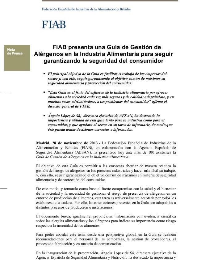 FIAB presenta una Guía de Gestión de Alérgenos en la Industria Alimentaria para seguir garantizando la seguridad del consu...