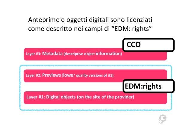 """Anteprime e oggetti digitali sono licenziati come descritto nei campi di """"EDM: rights""""  CCO Layer #3: Metadata (descriptiv..."""