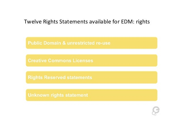 Twelve Rights Statements available for EDM: rights
