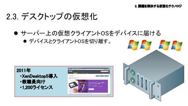 2. 課題を解決する仮想化テクノロジ  2.3. デスクトップの仮想化  サーバー上の仮想クライアントOSをデバイスに届ける  デバイスとクライアントOSを切り離す。  2011年 ・XenDesktop5導入 ・教職員向け ・1,200ラ...