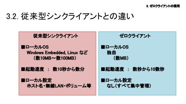 3. ゼロクライアントの採用  3.2. 従来型シンクライアントとの違い 従来型シンクライアント  ゼロクライアント  ■ローカルOS Windows Embedded, Linux など (数10MB~数100MB)  ■ローカルOS 独自 ...